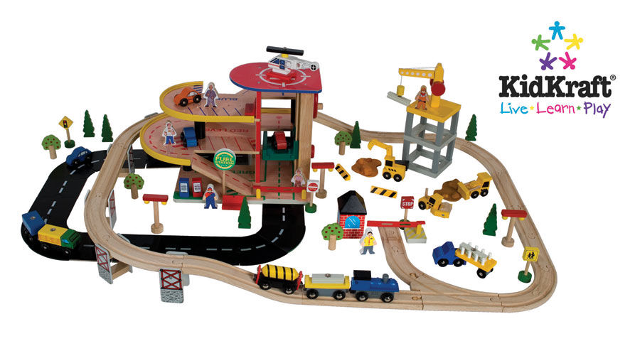 KidKraft Garage & Crane Train Set