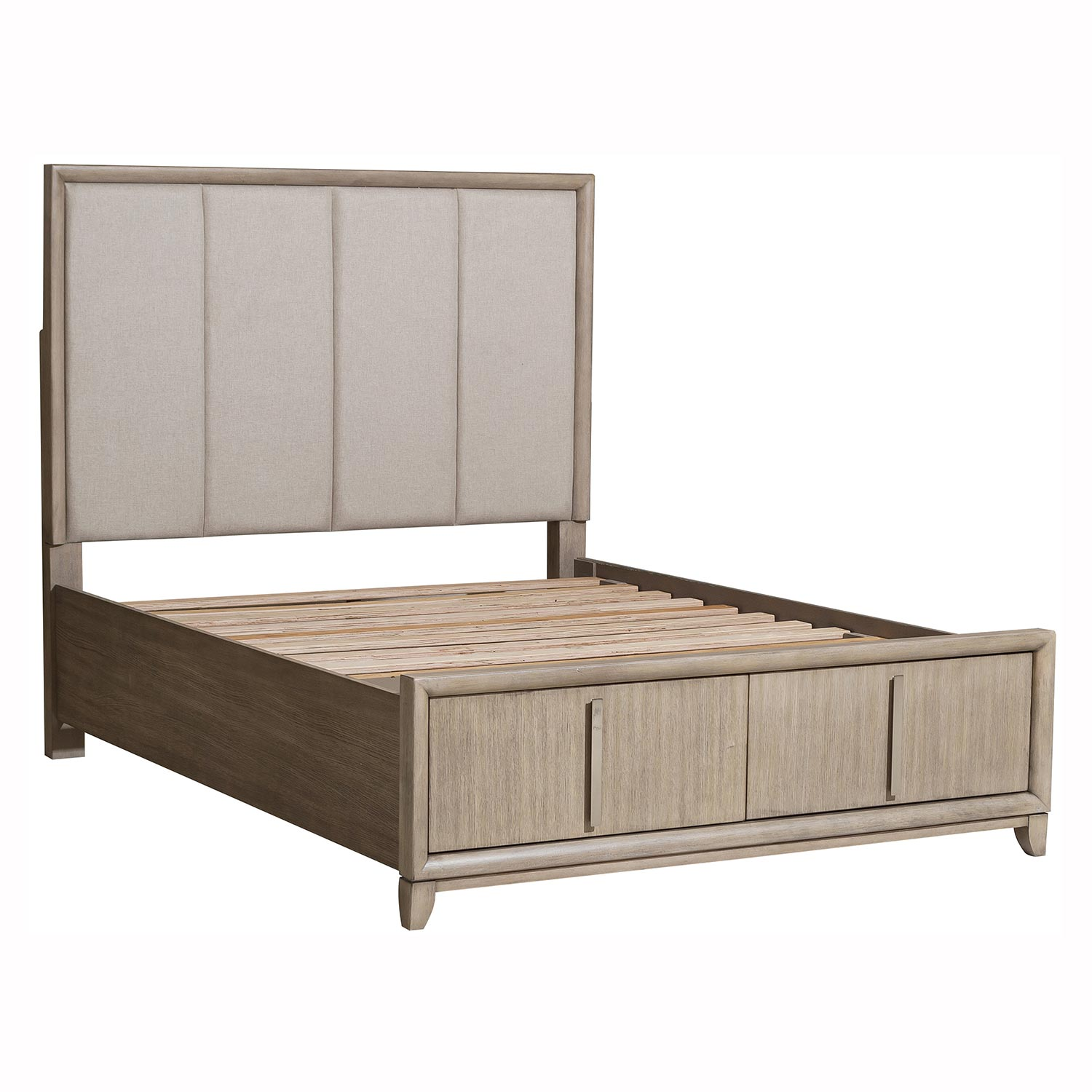 Homelegance McKewen Upholsterd Platform Bed with Footboard Storage - Light Gray
