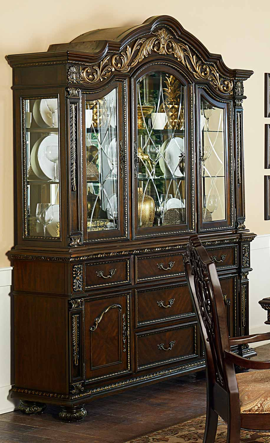 Homelegance Catalonia China Cabinet - Cherry