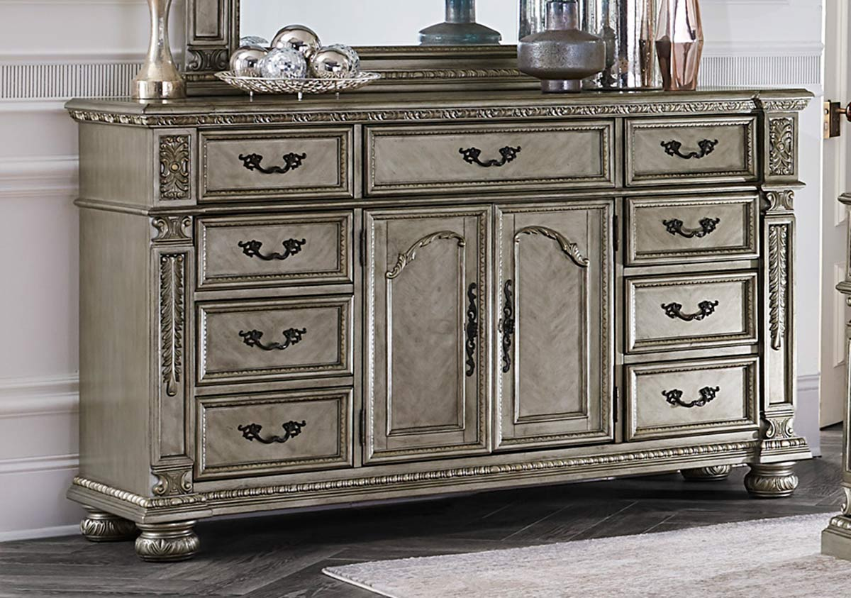 Homelegance Catalonia Dresser - Traditional Platinum Gold Finish with Cherry Veneer