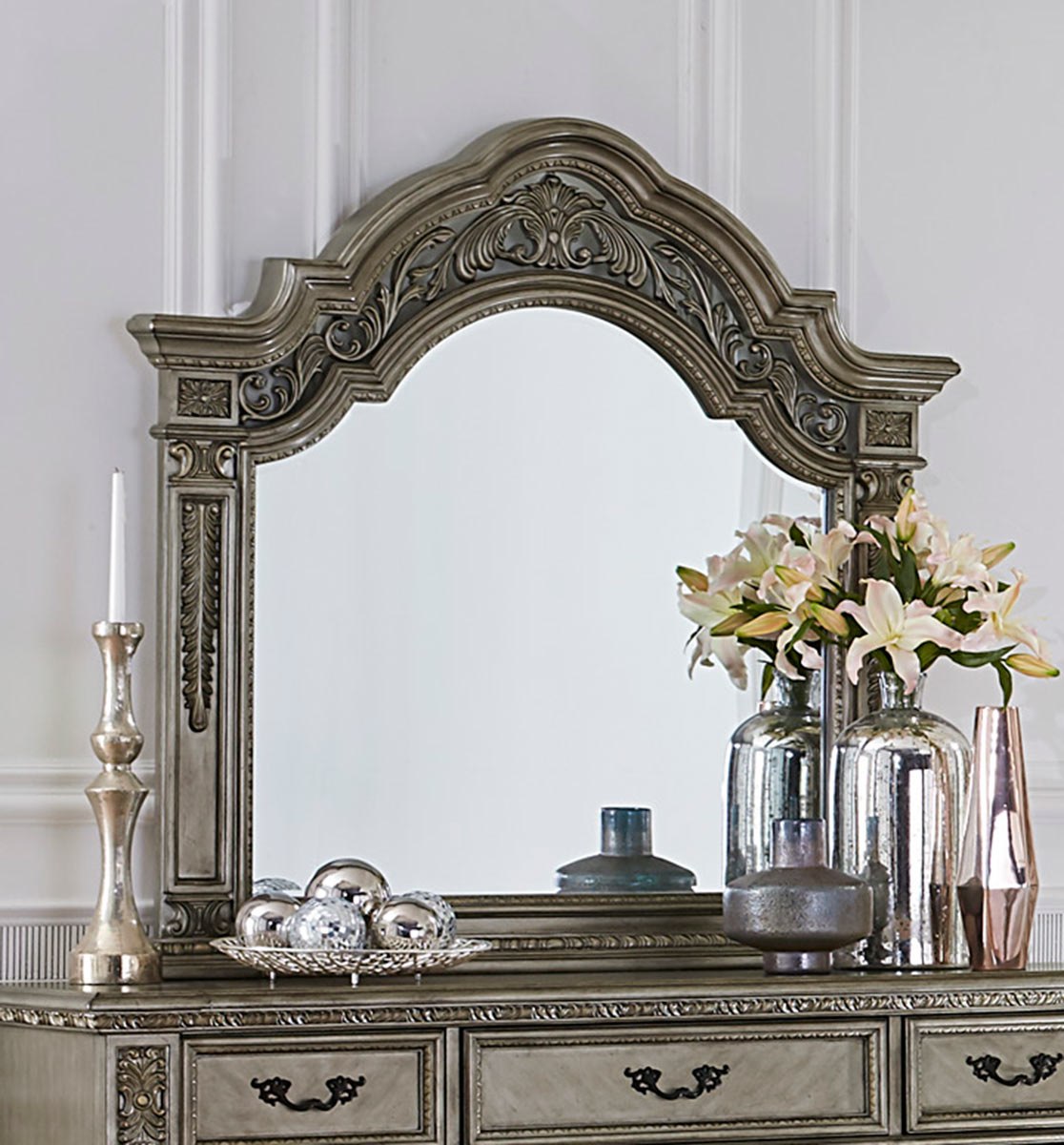 Homelegance Catalonia Mirror - Traditional Platinum Gold Finish with Cherry Veneer