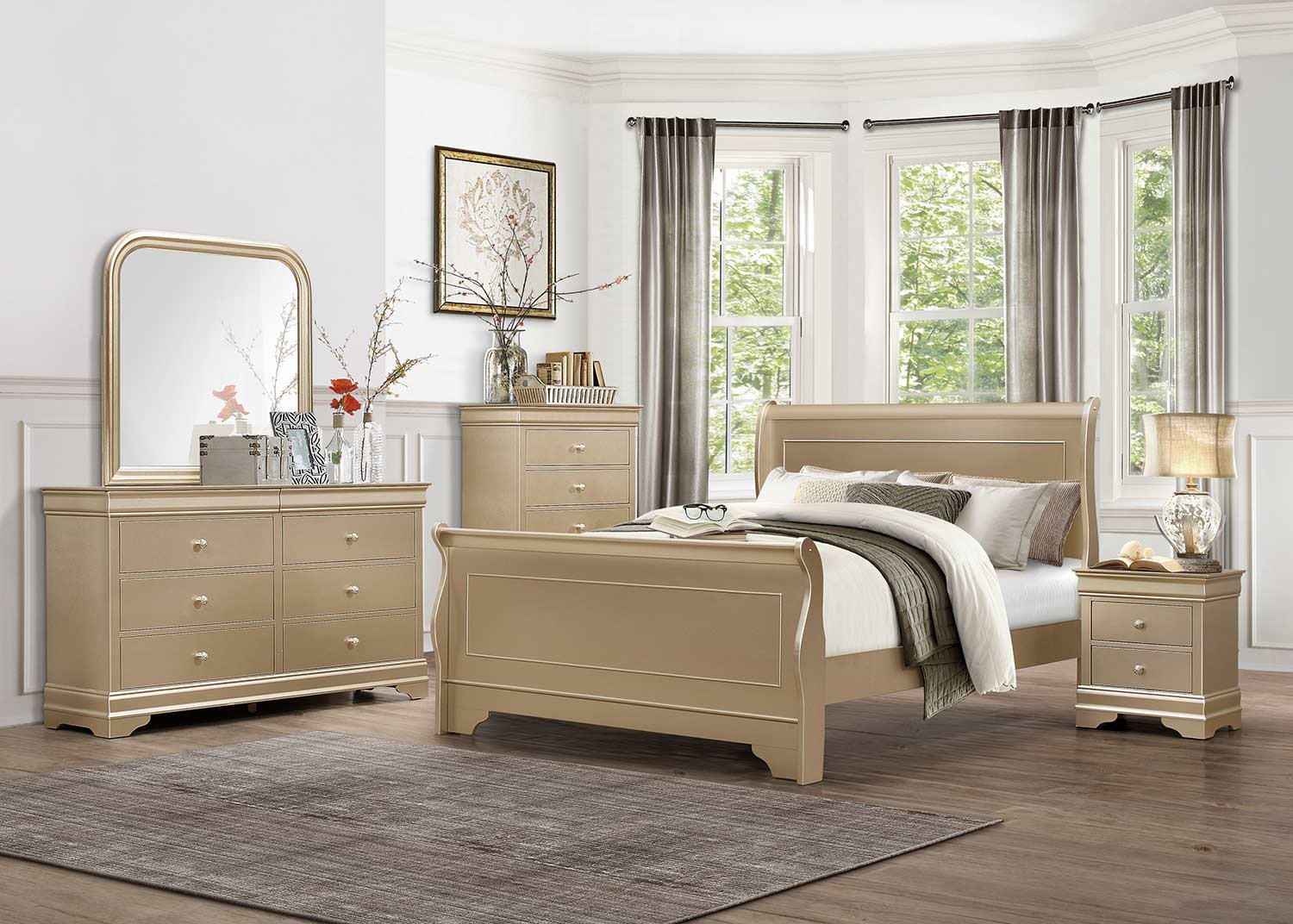 Homelegance Abbeville Bedroom Set - Gold