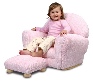 KidKraft A Space of Her Own Upholstered Rocker Ottoman - Pink Chenille
