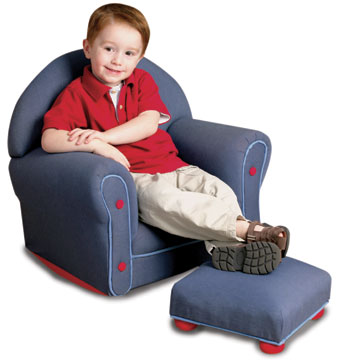 KidKraft Upholstered Rocker & Ottoman - Denim