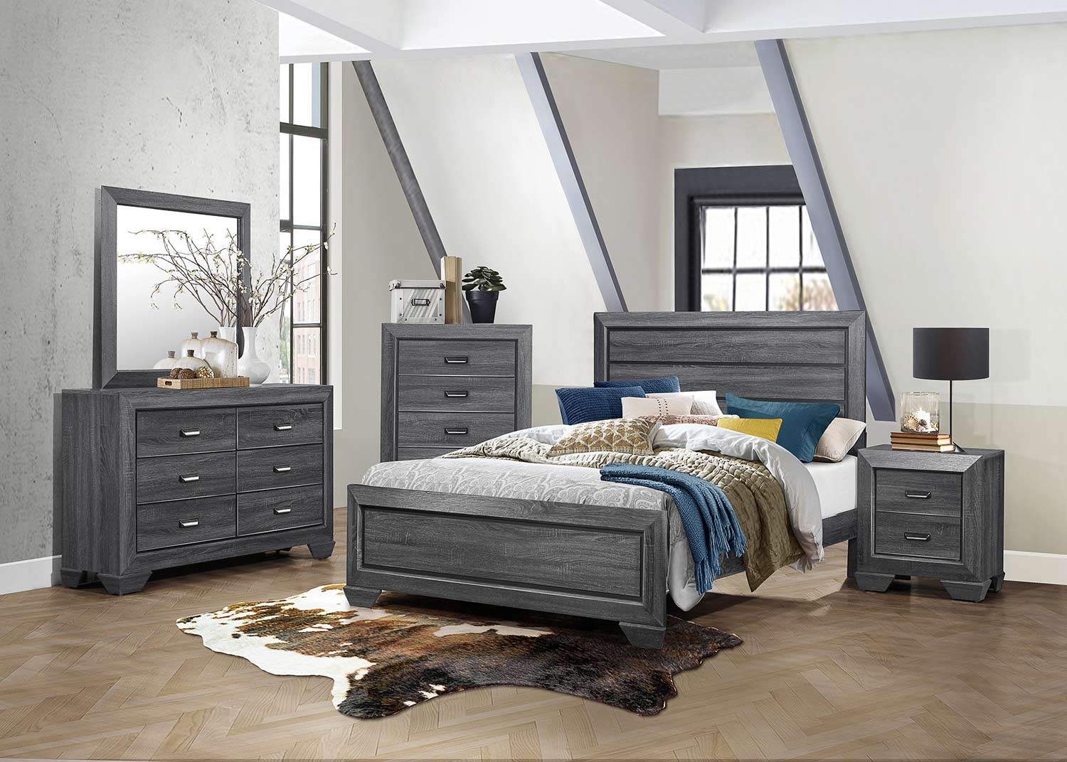 Homelegance Beechnut Bedroom Set Gray 1904gy Bed Set At