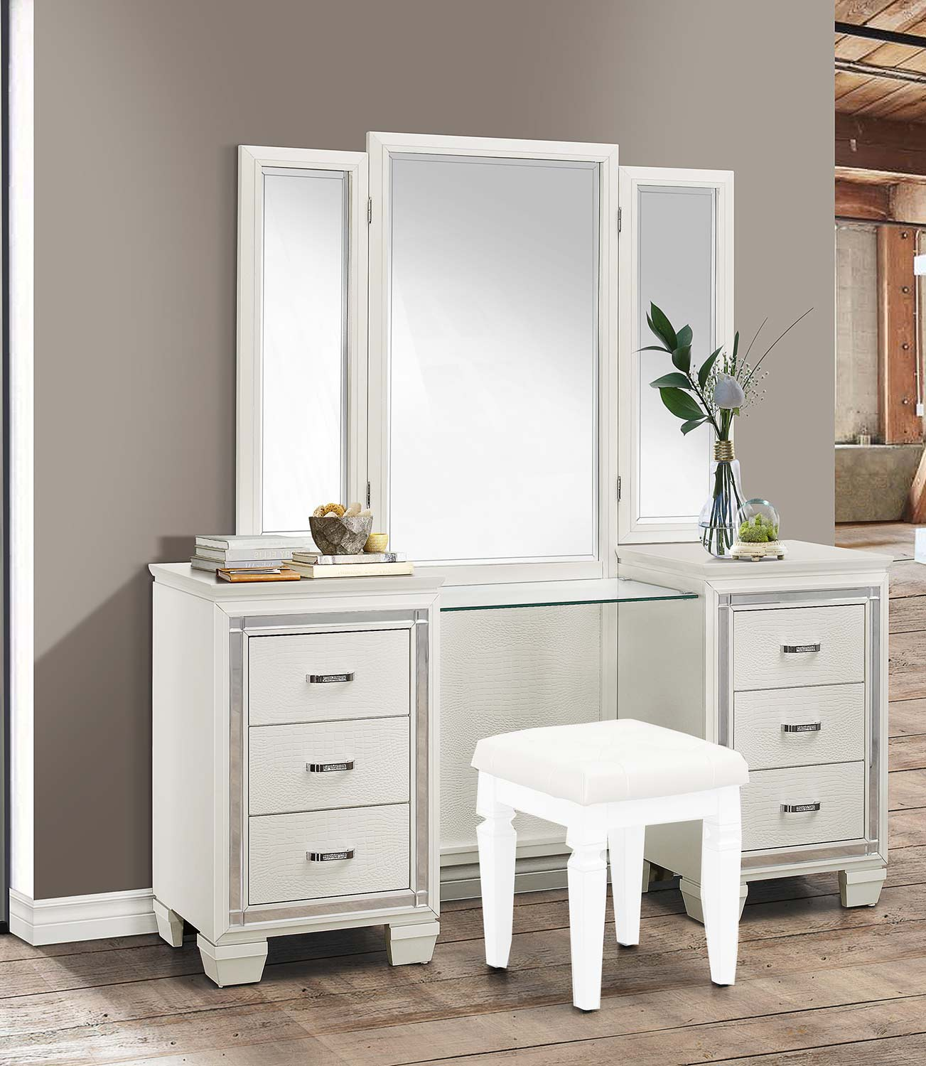 Homelegance Allura Vanity Dresser with Mirror - White