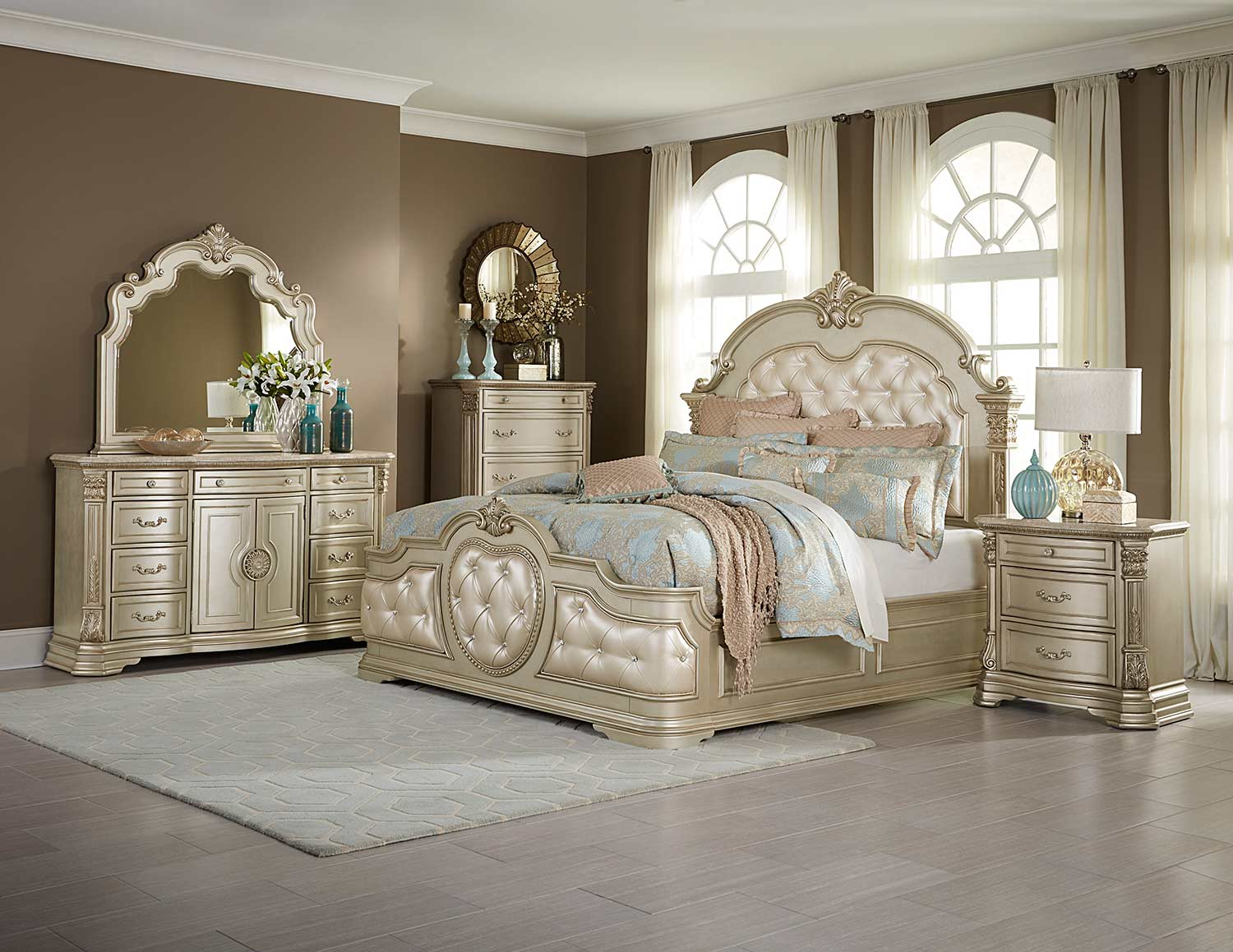 Homelegance antoinetta bedroom set champagne 1919nc bed set at homelement com