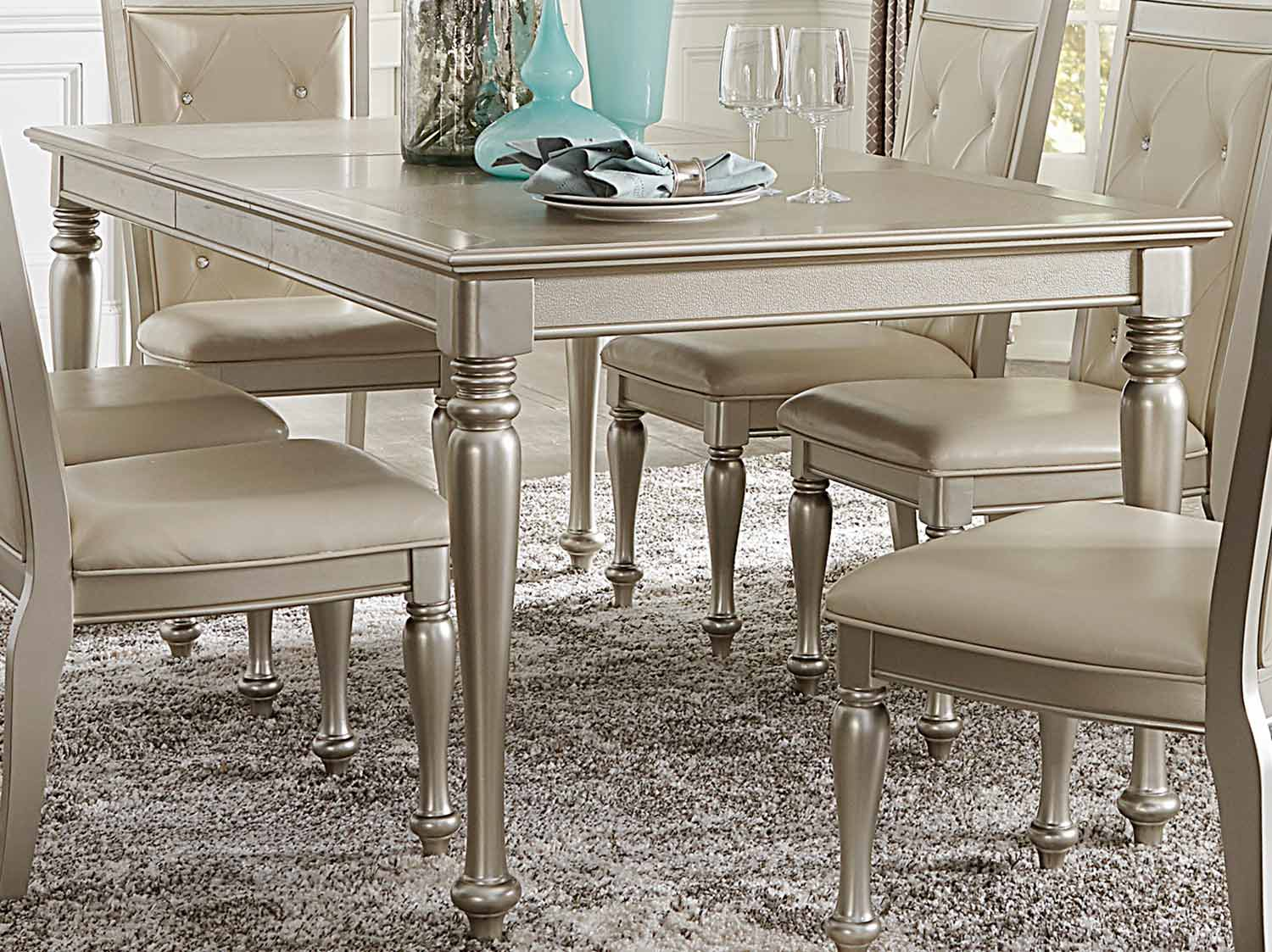 Homelegance Celandine Dining Table - Silver - Bi-Cast Vinyl