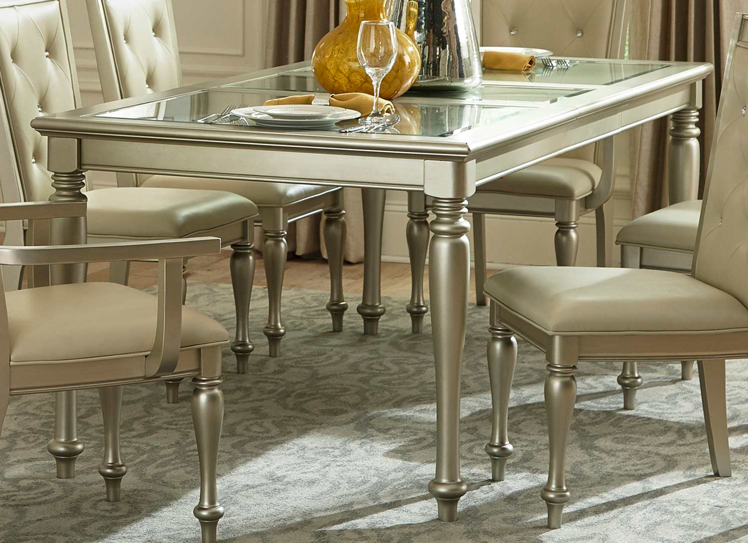 Homelegance Celandine Dining Table - Glass Insert - Silver