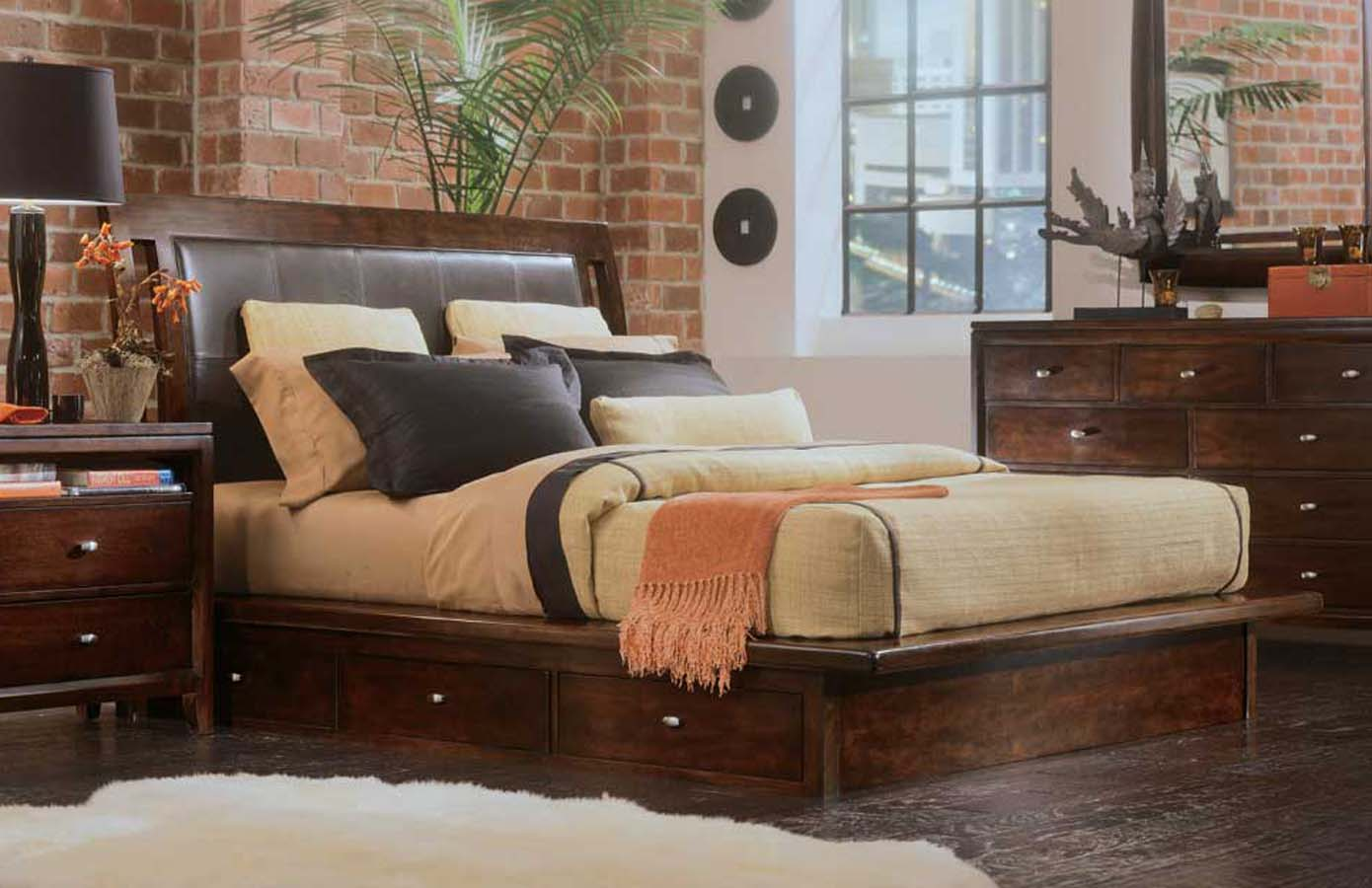 American Drew Tribecca Platform Bed With Under Storage 912