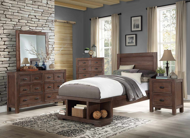 Homelegance Wrangell Platform Bedroom Set - Medium Cherry