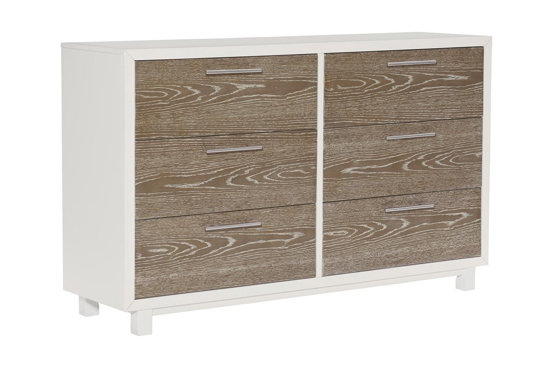 Homelegance Renly Dresser - Natural Finish of Oak Veneer with White Framing