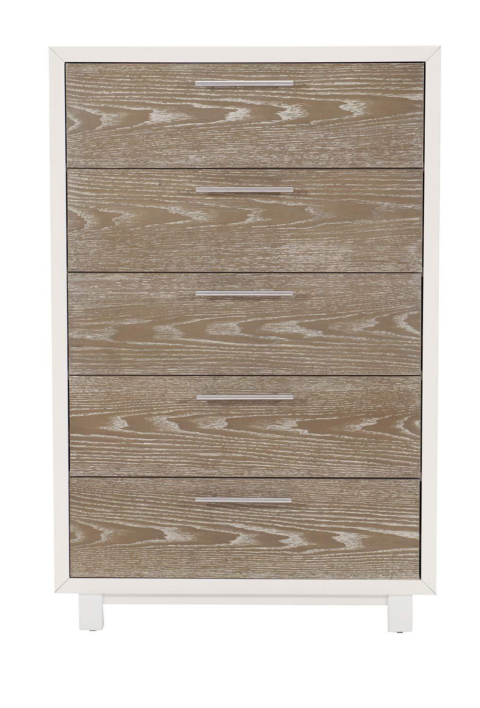 Homelegance Renly Chest - Natural Finish of Oak Veneer with White Framing