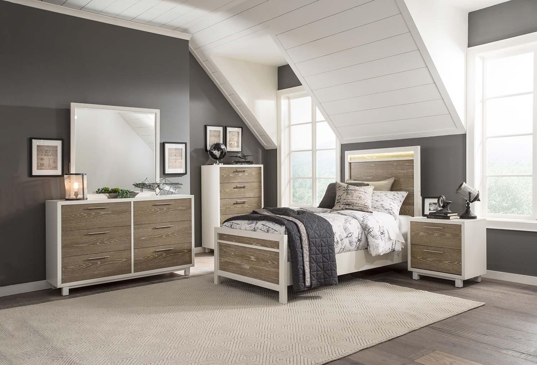 Homelegance Renly LED Bedroom Set - Natural Finish of Oak Veneer with White Framing