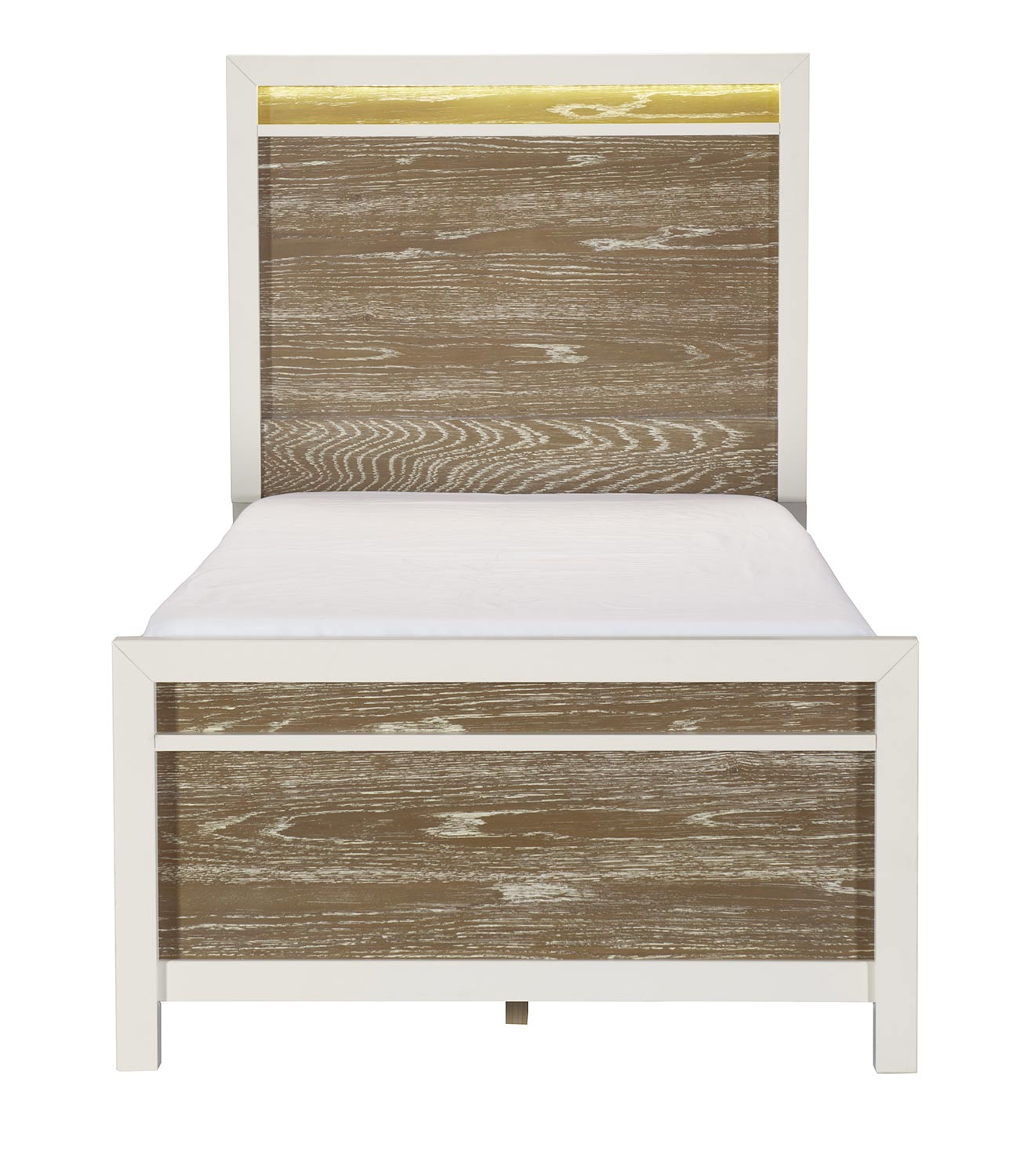 Homelegance Renly Bed with LED Lighting - Natural Finish of Oak Veneer with White Framing