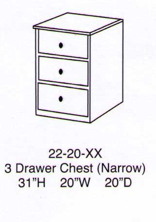 Sierra 3 Drawer Narrow Chest-Berg