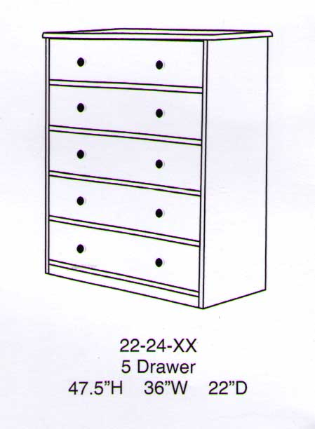 Sierra 5 Drawer Chest-Berg