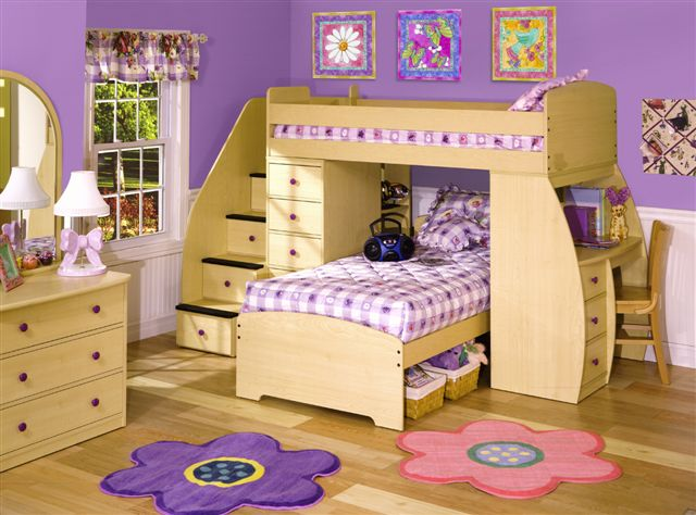 Space Saver Twin over Twin with Desk Chest and Stairs-Berg