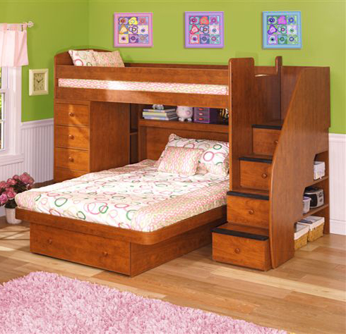 Space Saver Twin over Full with Chest and Stairs-Berg