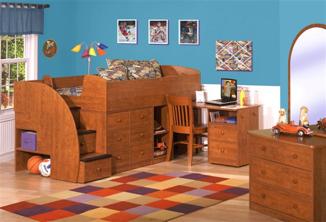 Sierra Captains Bed with Desk & Stairs-Berg