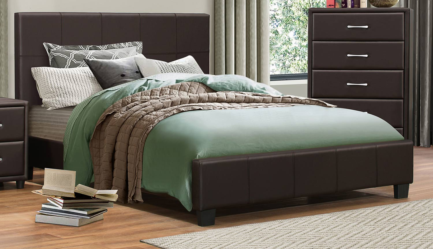 Homelegance Lorenzi Platform Bed - Dark Brown Vinyl