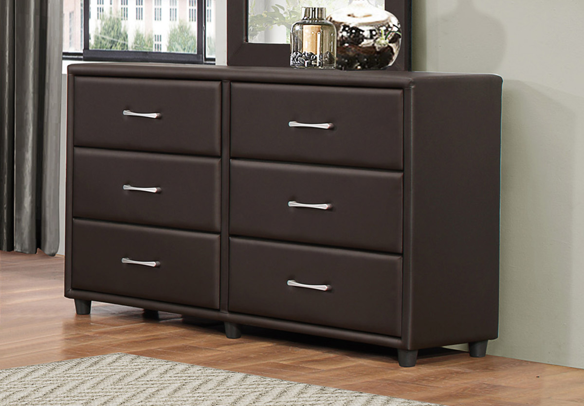 Homelegance Lorenzi Dresser - Dark Brown Vinyl