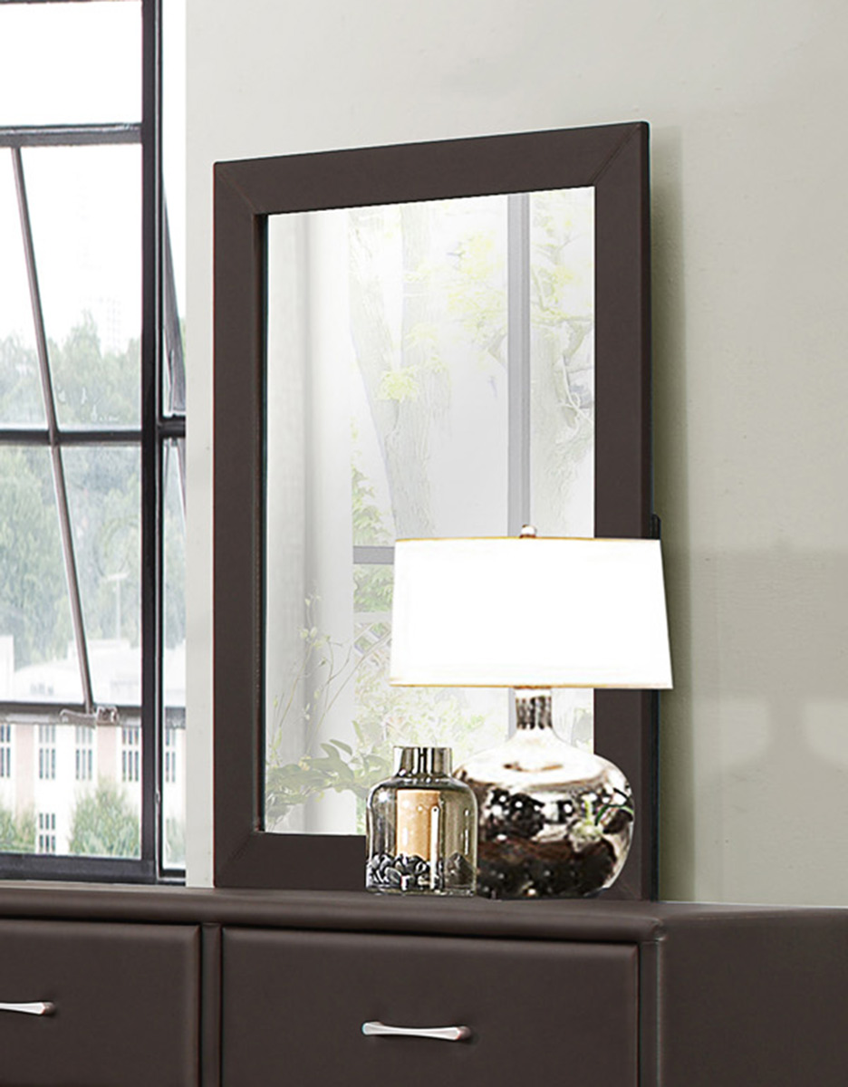 Homelegance Lorenzi Mirror - Dark Brown Vinyl