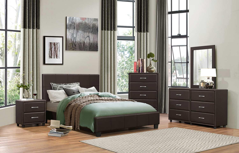 Homelegance Lorenzi Bedroom Set - Dark Brown Vinyl