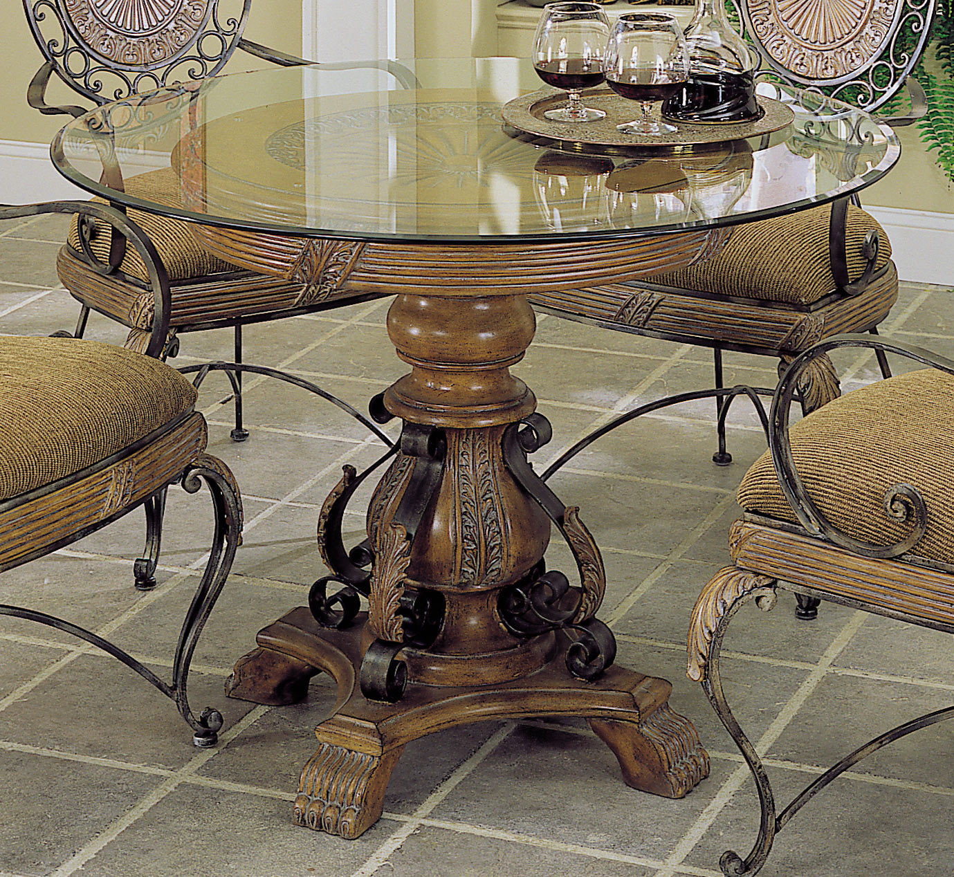 Homelegance Cebu Dining Table With Bevel Glass 238