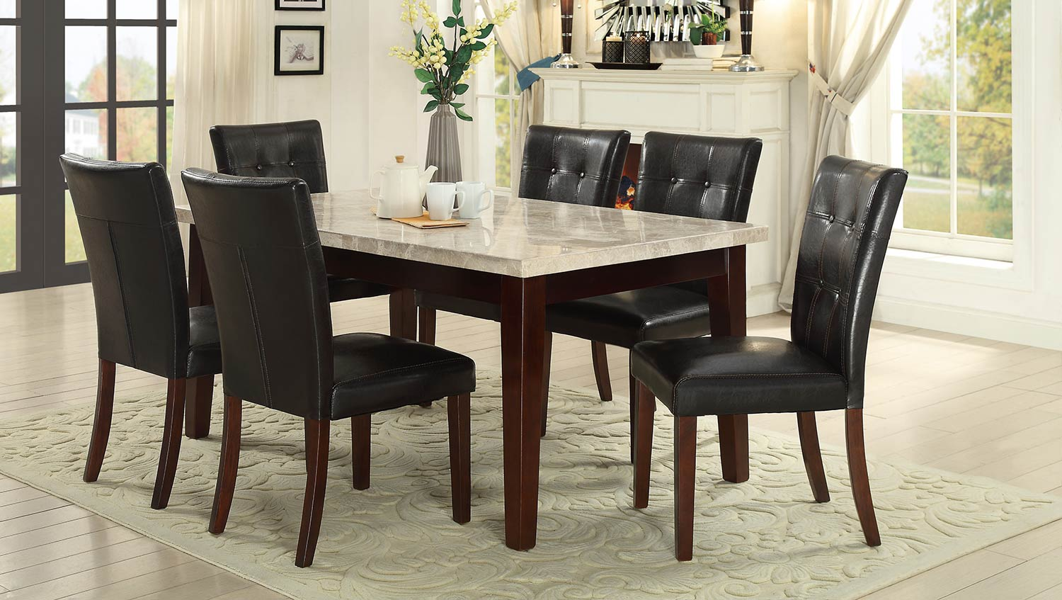 Homelegance Decatur Dining Set - Espresso - Dark Brown Bi-Cast Vinyl