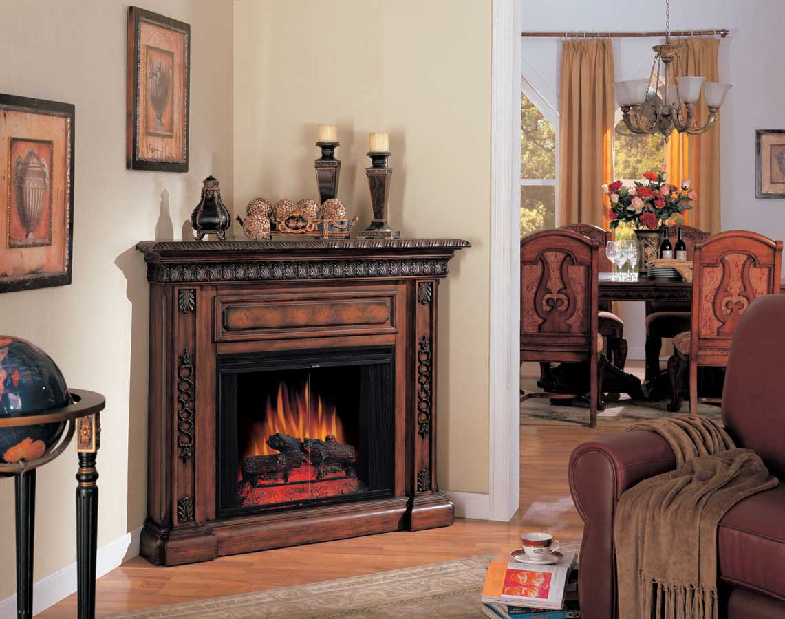 San Marco Corner Antique Walnut Electric Fireplace 28 Inch