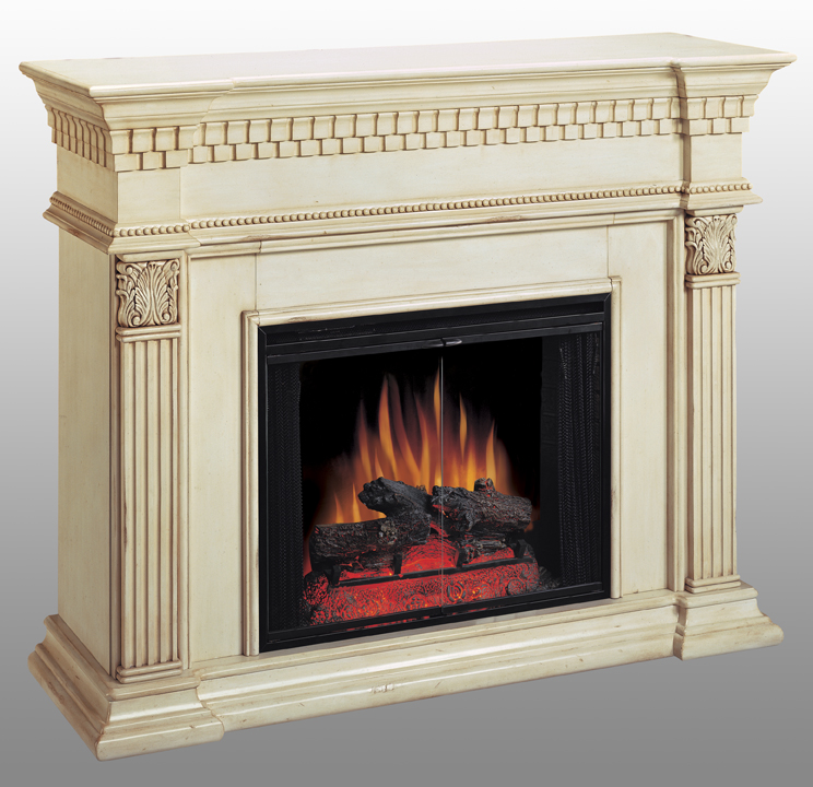 Shop Coolidge New Antique White Electric Fireplace 28 inch-Classic Flame at Homelement at everyday low price. The Coolidge features an antique white finish with dentil molding and fluted pilasters with carved detail capitals.