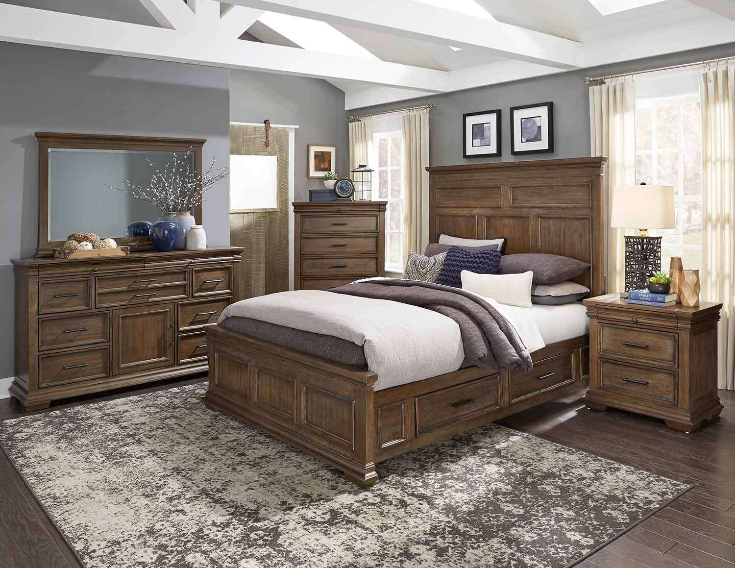 Homelegance Narcine Bedroom Set - Oak Veneer with Gray Finish