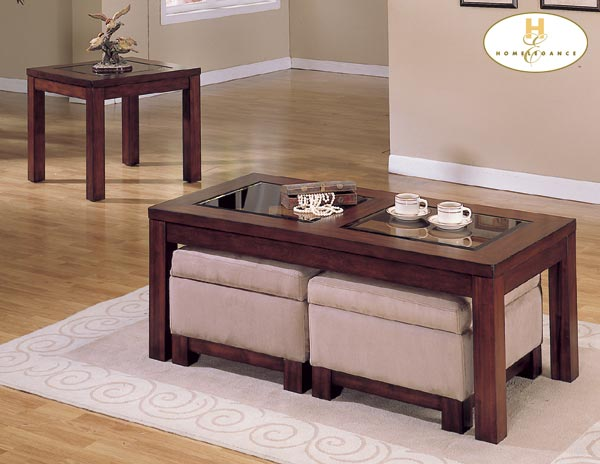 Homelegance Symphony Cocktail Table Cherry Finish Ottoman Peat 3218c 30