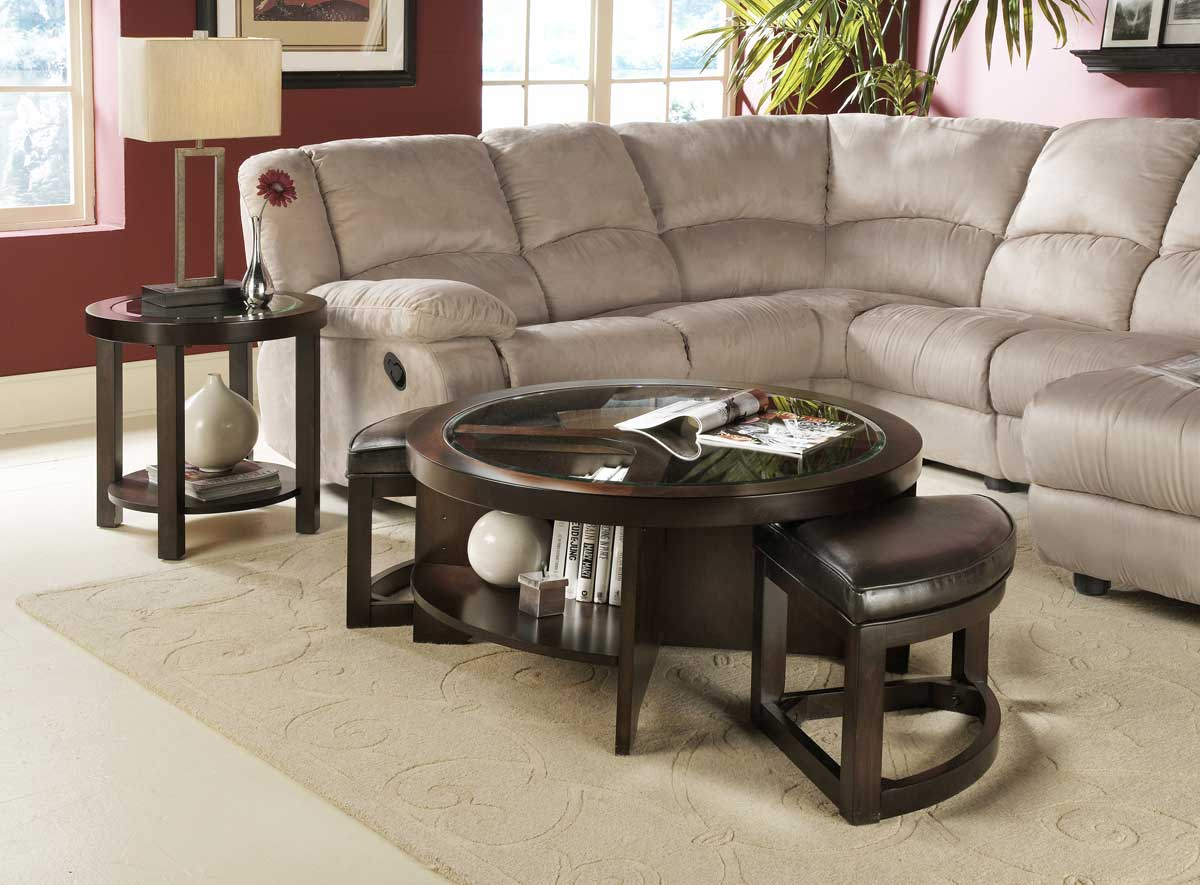 Homelegance Brussel Round Cocktail Table With 2 Ottomans