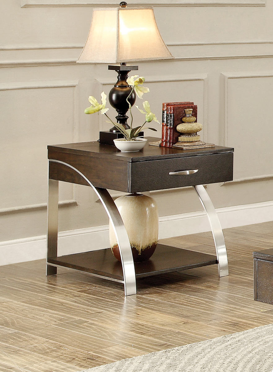 Homelegance Tioga End Table with Functional Drawer - Espresson