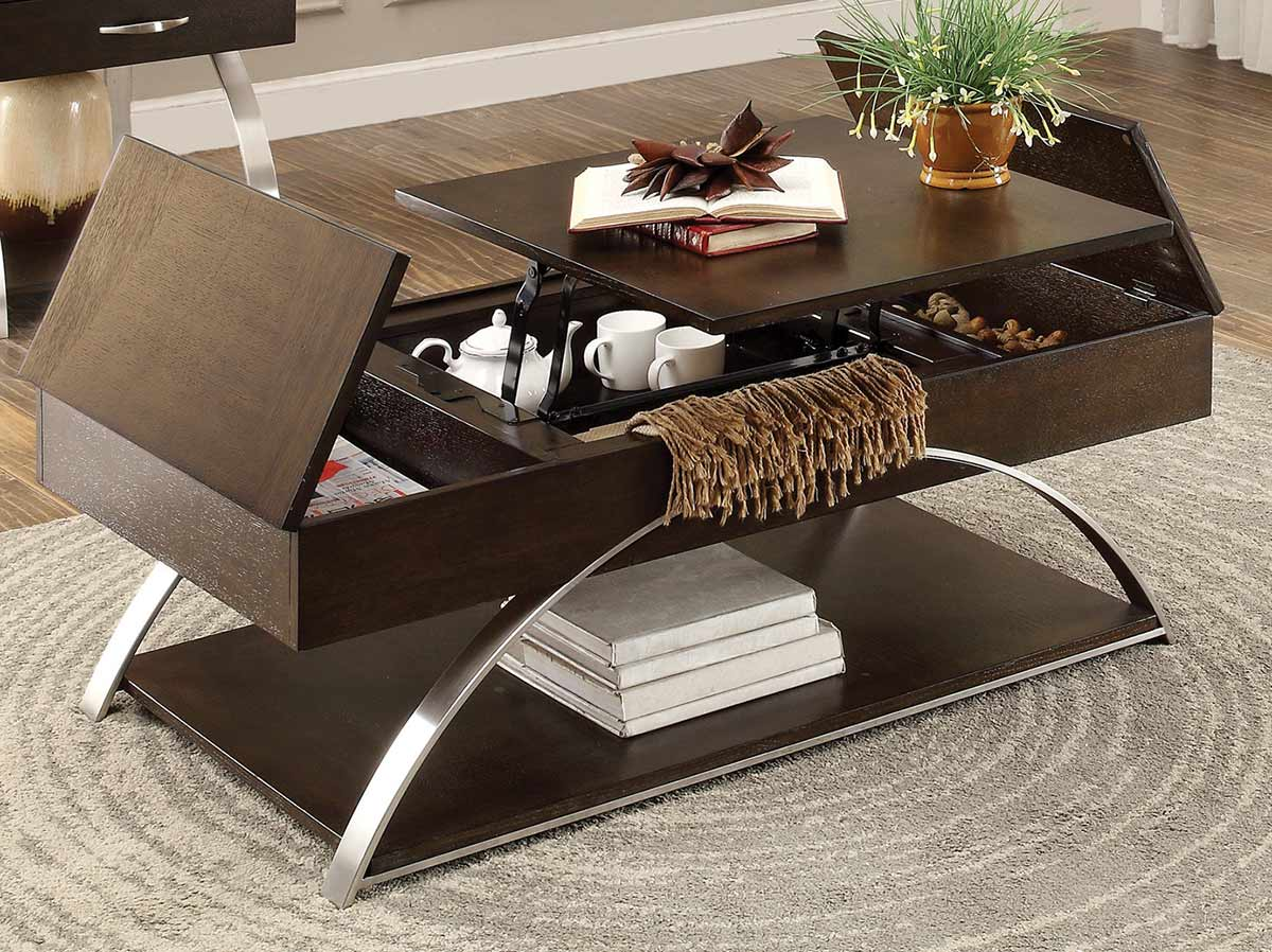 Homelegance Tioga Cocktail Table with Lift-Top and Storage - Espresson