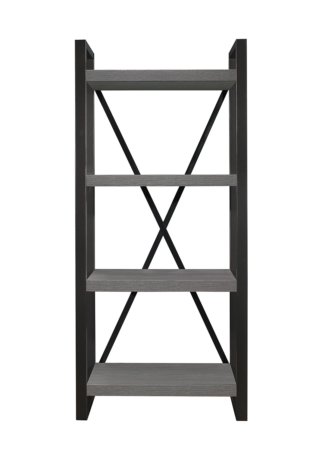 Homelegance Dogue 4-Shelf Bookcase - Gunmetal - Gray