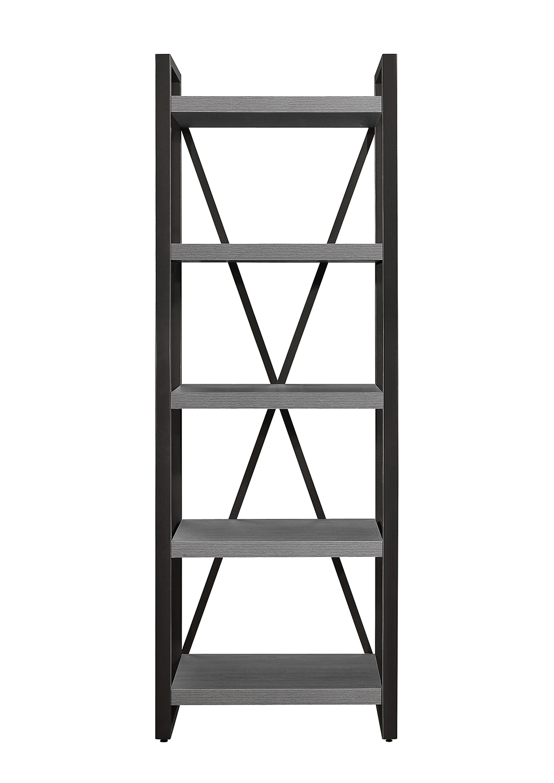 Homelegance Dogue 5-Shelf Bookcase - Gunmetal - Gray