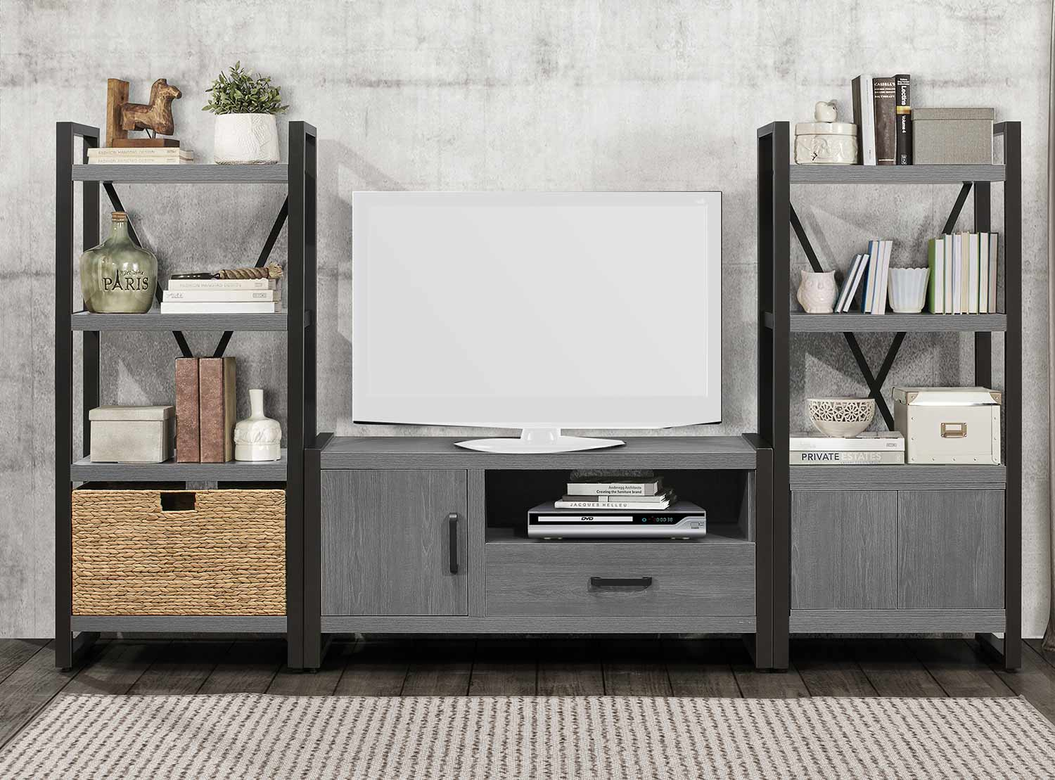 Homelegance Dogue 51-inch Entertainment Center Set - Gunmetal - Gray