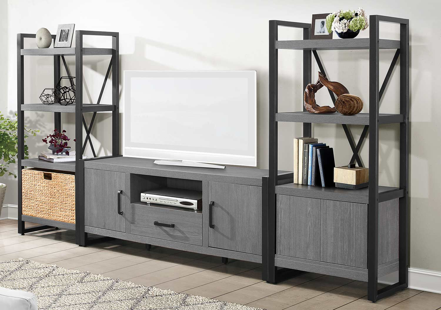 Homelegance Dogue 63-inch Entertainment Center Set - Gunmetal - Gray