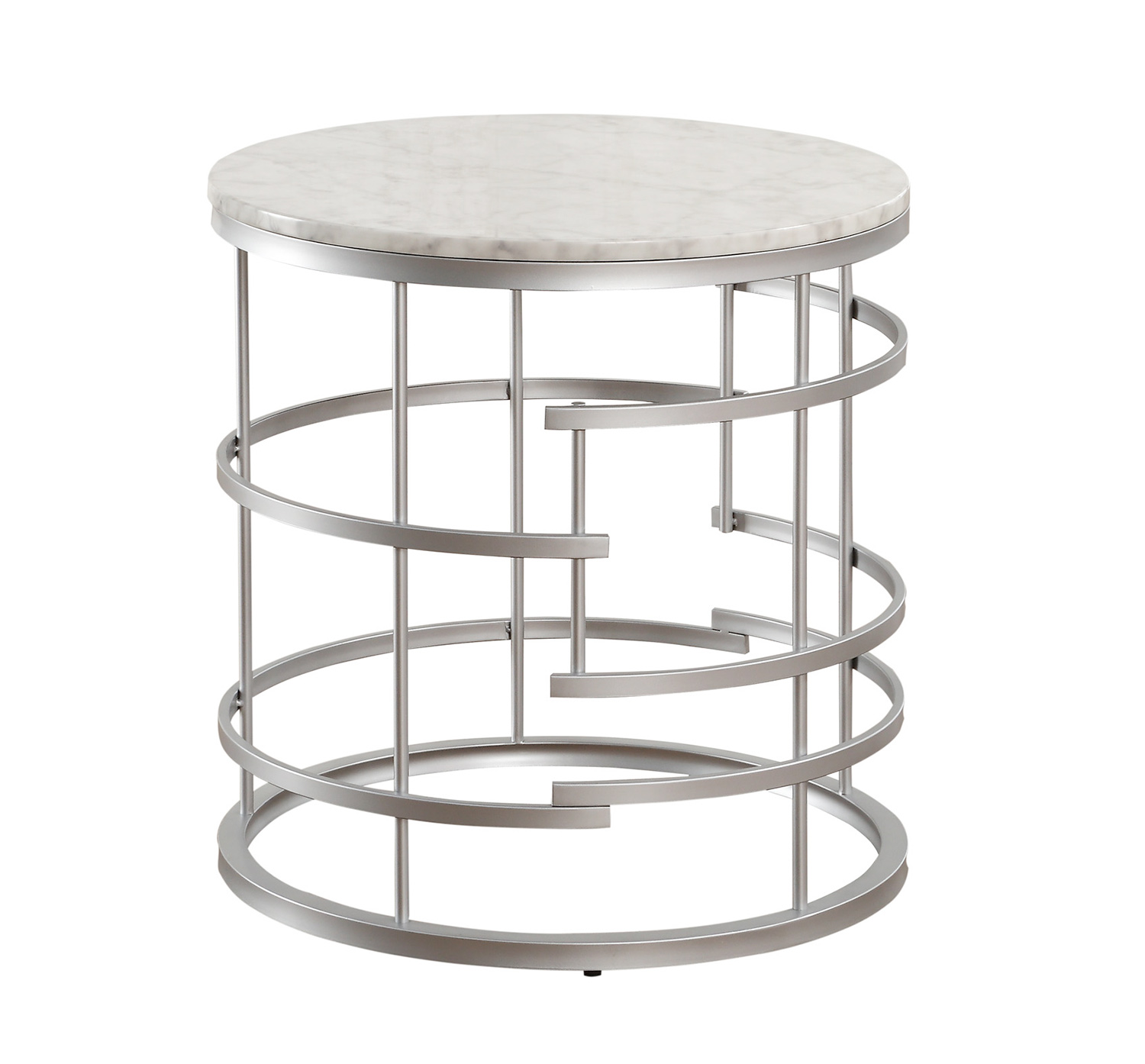 homelegance brassica round end table with faux marble top silver white marble top 3608sv 04. Black Bedroom Furniture Sets. Home Design Ideas
