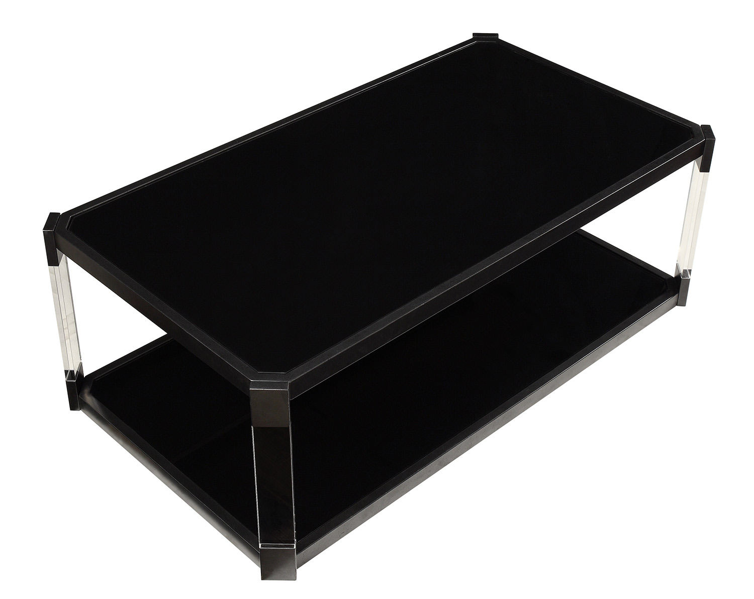 Homelegance Mehta Cocktail/Coffee Table with Casters - Black Glass