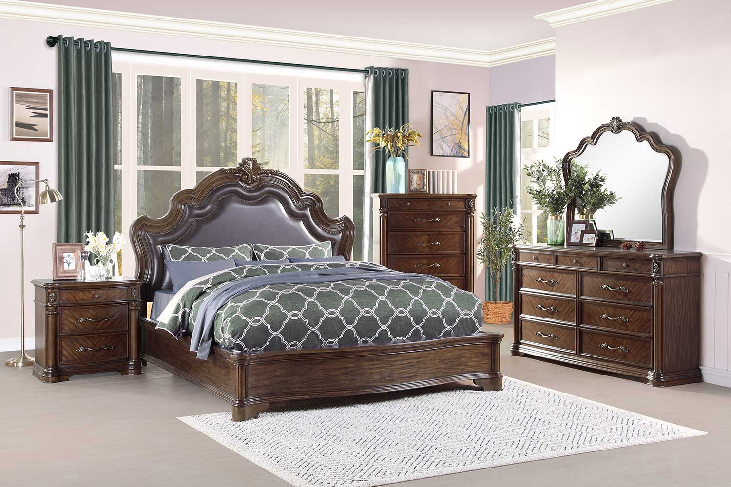 Homelegance Barbary Bedroom Set - Traditional Cherry
