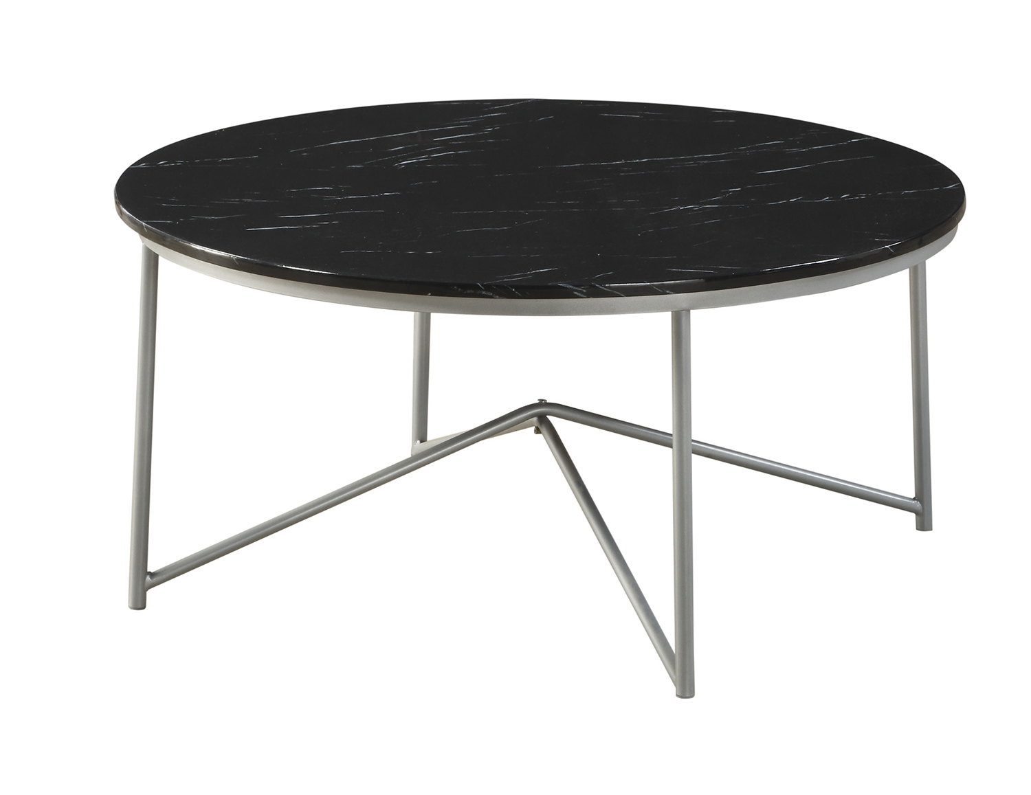 Homelegance Perivale 3-Piece Cocktail/Coffee Tables - Black Marble - Silver Legs