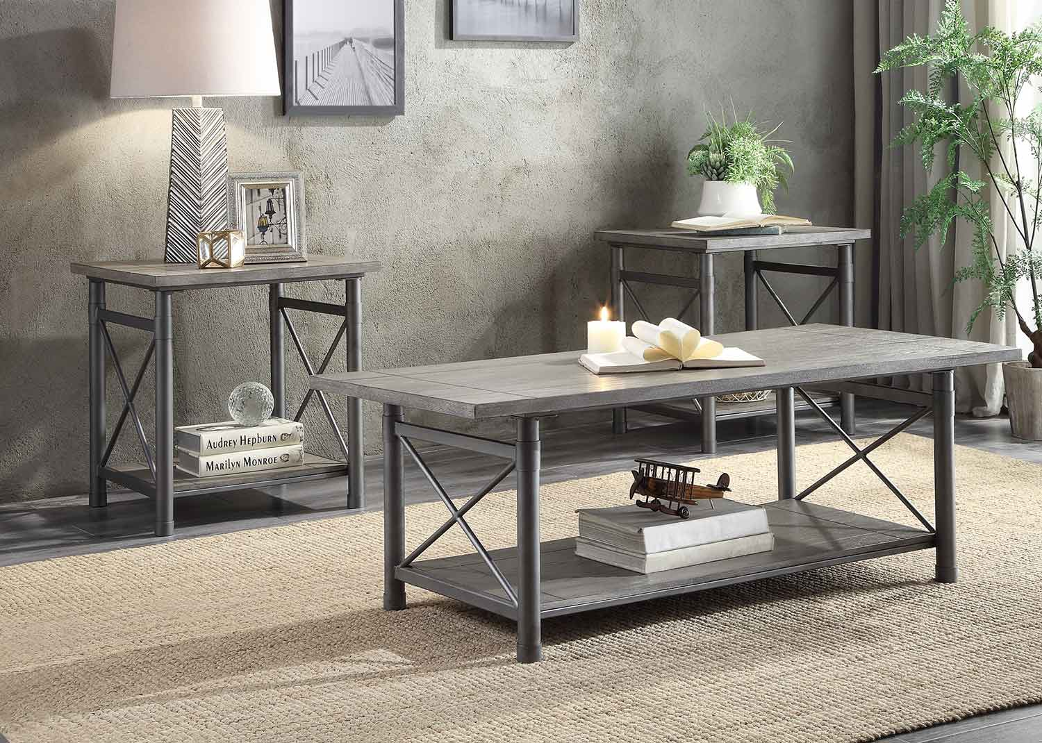 Homelegance Laurel Hill 3 Piece Occasional Table Set - Gray
