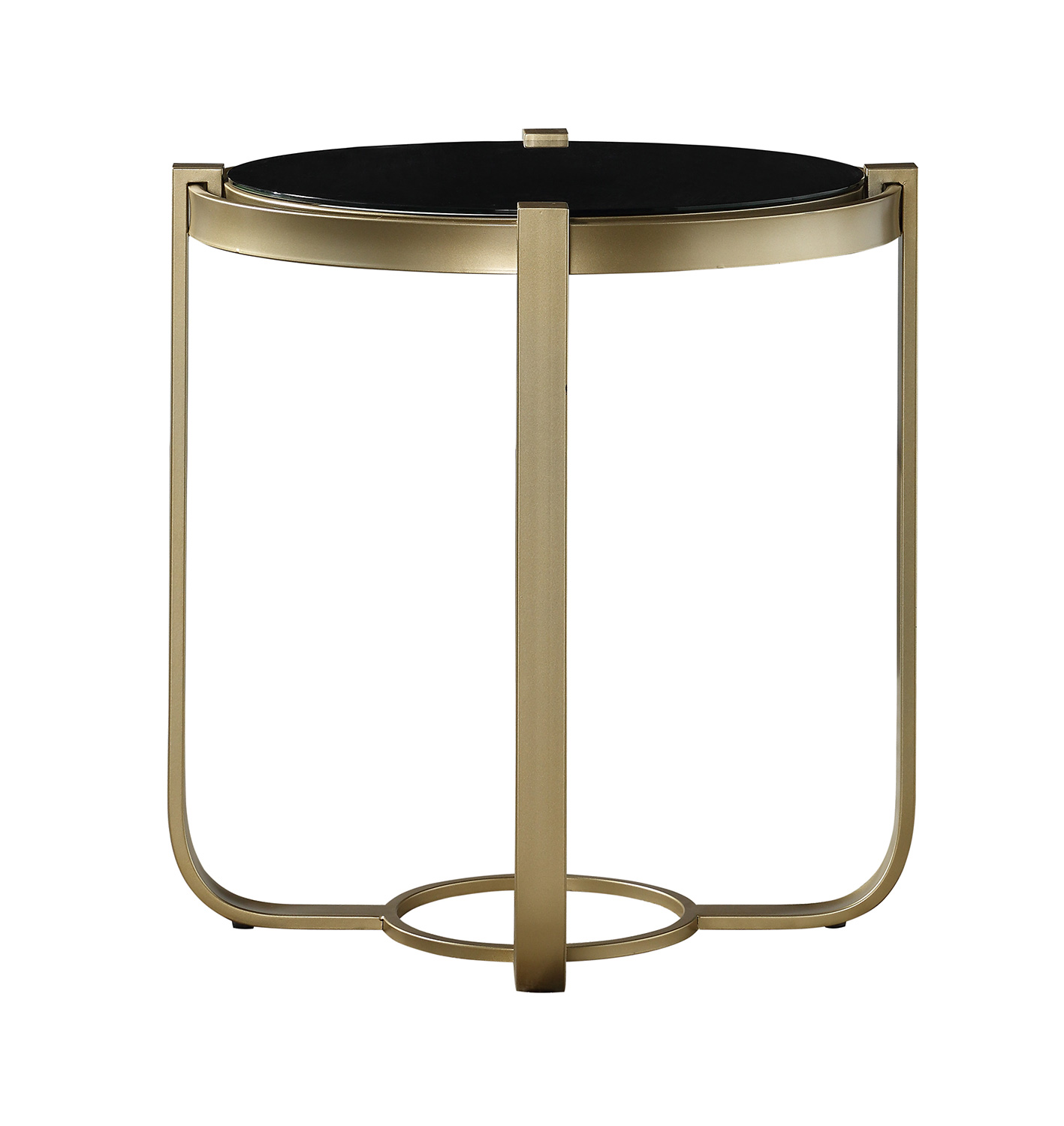 Homelegance Caracal Round End Table with Black Glass Insert - Gold