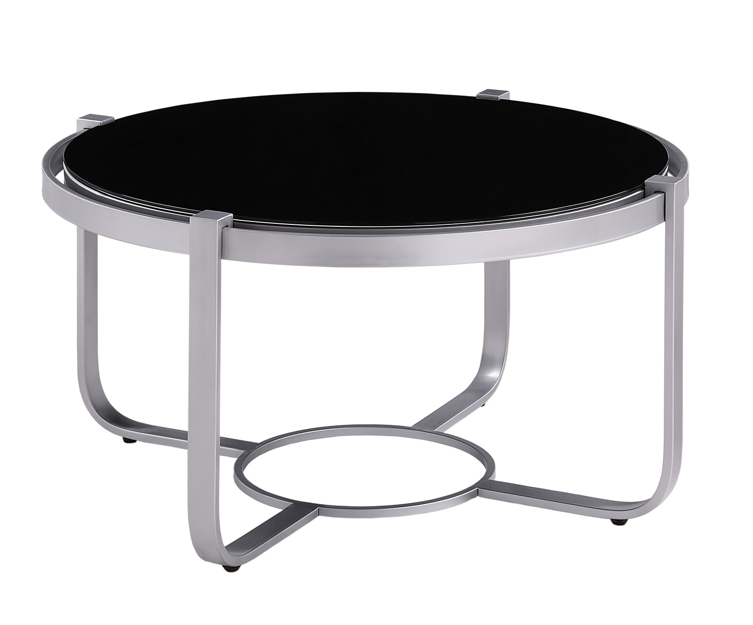Homelegance Caracal Round Cocktail Table with Black Glass Insert - Silver