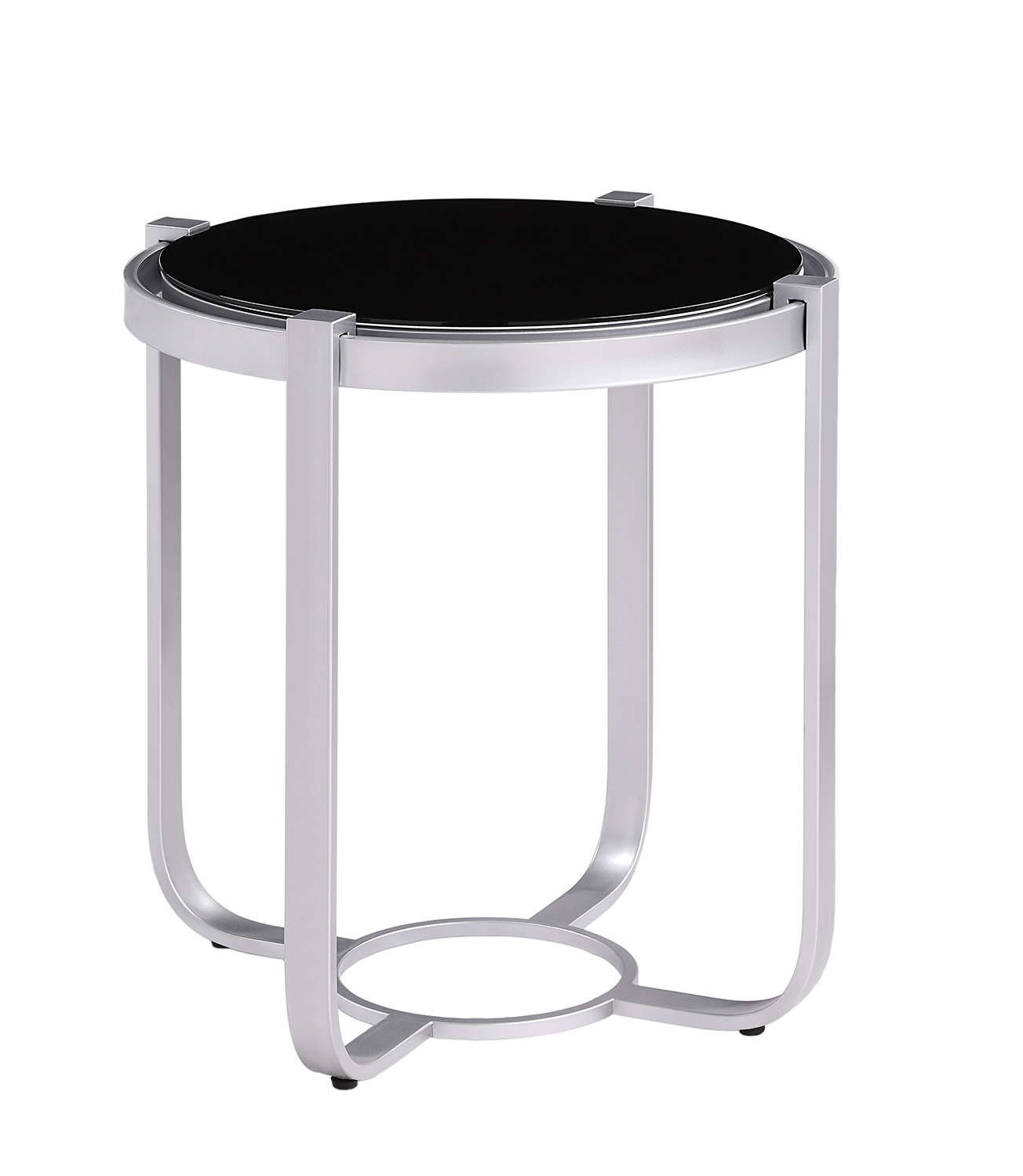 Homelegance Caracal Round End Table with Black Glass Insert - Silver