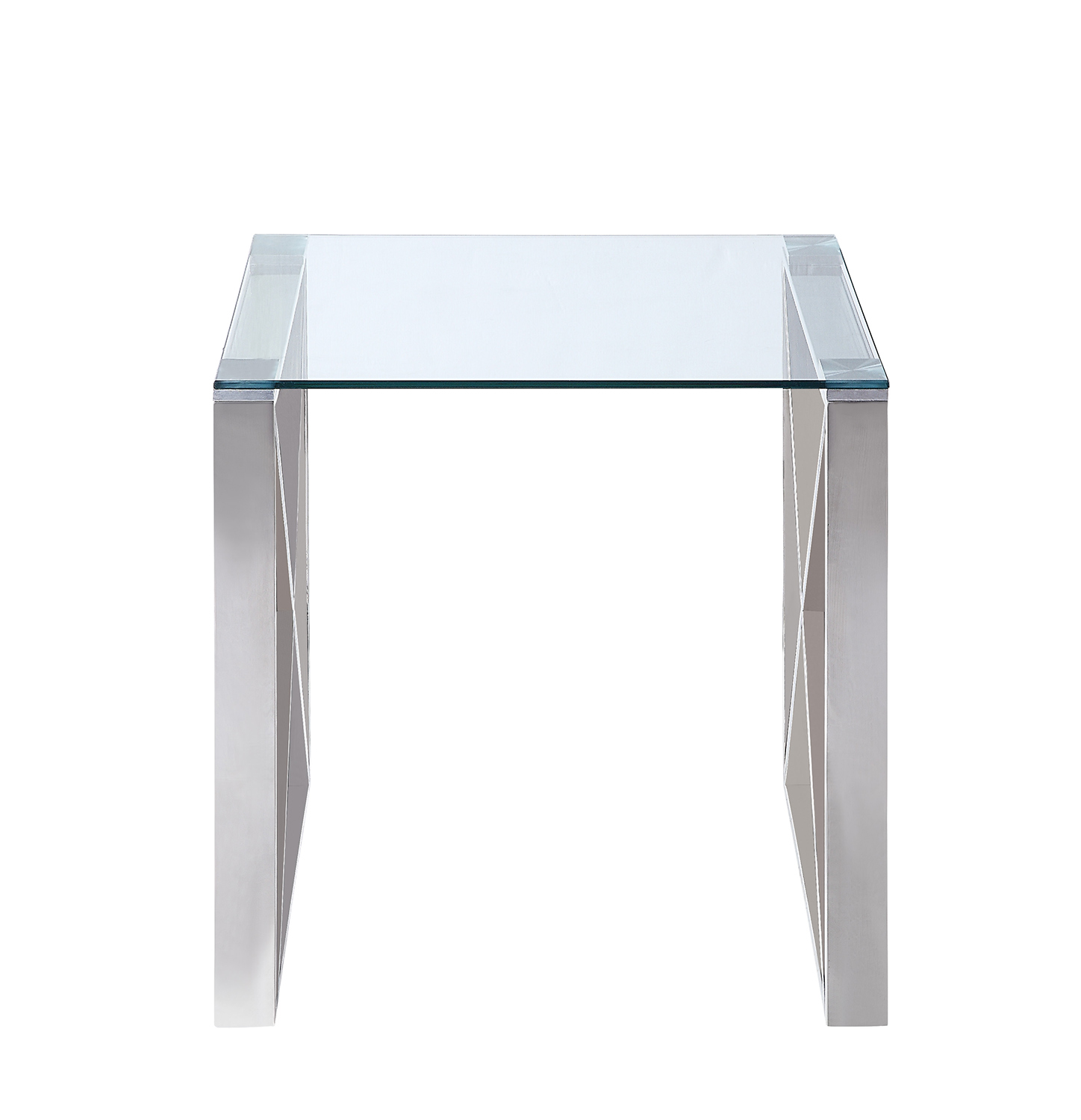 Homelegance Rush End Table with Glass Top - Polished Chrome